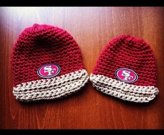 San Francisco 49ers Football Beanies Crochet Hats Mommy Me Daddy Me Sets