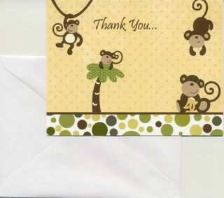 24 Printed Cocalo Monkey Time Baby Shower Folded Thank You Cards Blank Inside