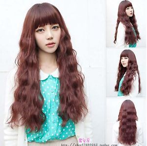 New Sexy Fashion Women Curly Wavy Long Hair Full Wigs Cosplay Party Wine Red Wig