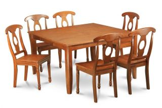 5 PC Square Dinette Kitchen Dining Table Set 4 Wood Chairs in Saddle Brown