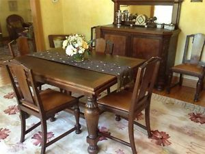 French Art Deco Walnut Oak Dining Table Six Chairs Burl Wood Buffet