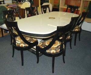Italian Dining Table with 8 Chairs Black White Gold Greek Key Design