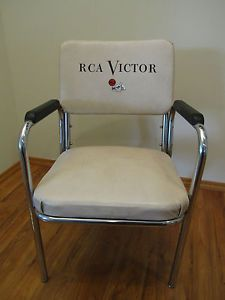 Vintage 1950s Bakelite Chrome Mid Century RCA Victor Chair Nipper Dog Logo