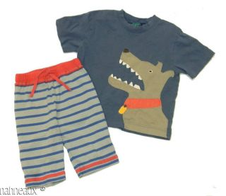 Boys 2 3Y 3 4Y Play Outfit Mini Boden Blue Dog Shirt Striped Baggies Knit Shorts