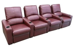 Eros Home Theater Seating 4 Burgundy Seats Push Back Recliner Chairs