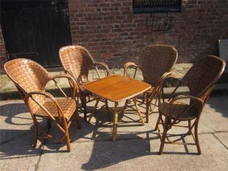 Superb Set of Four French Colonial Art Deco Cane Bentwood Patio Chairs C1930