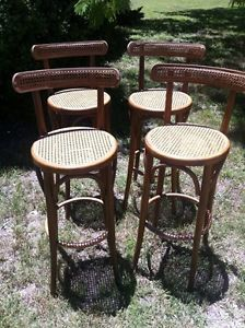 Vintage Retro Mid Century Set of 4 Wood Cane Bentwood Bar Stools Chairs Modern
