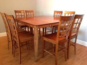 Contemporary Cherry Wood Finish Dining Table Chairs 9 Piece Set 5