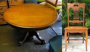 Antique Solid Oak Expanding Pedestal Dining Table 6 Oak Chairs 4 Leaves