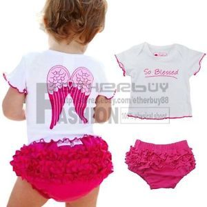 2pcs Baby Girl Infant Toddler Angel Top Ruffle Pants Shorts Sets Clothes Outfits