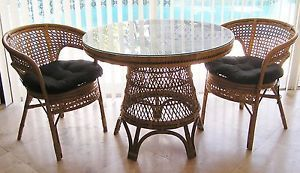 Rattan Bamboo Wicker Cane w Glass Top Table 2 Chairs Dining Set Dinette