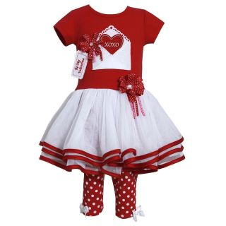 Bonnie Jean Baby Girls Heart Valentine Tutu Dress Outfit with Leggings Red 2T