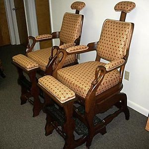 Pair of Antique Ransom & Randolph Art Nouveau Barber Chairs   Restored
