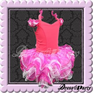 058Z Hot Pink Top Shell National Pageant Baby Flower Girls Dress Outfits 2 3Y