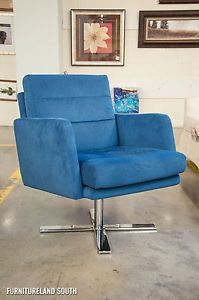 W Schillig Blue Ultrasuede Spoke Chrome Swivel Accent Chair