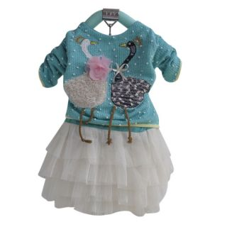1pc Baby Girls Kid Toddler Swan Knit Top Dress Tutu Clothes Outfit 2 3Y Green