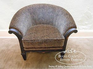 Old Hickory Tannery Regency Style Cheetah Leopard Print Barrel Back Carved Chair