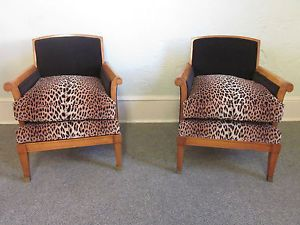 French Art Deco Pair of Leopard Print Bergere Living Room Lounge Chairs