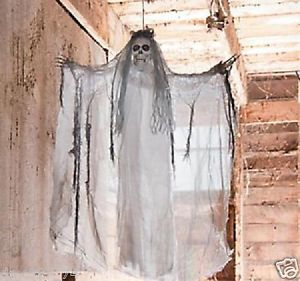 1 Halloween Haunted House Decor Prop Hanging Light Up White Haired Skeleton