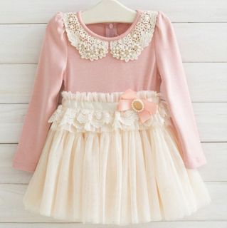 Latest New Pink Red Baby Girls Kids Spring Fall Dress 4 Sizes 2 6 Years KK11