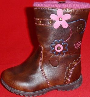 New Girl's Toddler's Rampage Peyton Brown Pink Fashion Zipper Casual Dress Boots