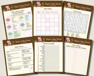 Personalized U Print 6 Baby Shower Games Pink Owl Bingo Word Scramble Favors