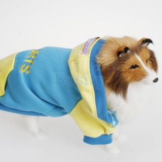 Puppy Pet Dog Doggie Sports Shirt Hooded Hoodie Coat Jacket Tracksuit Clothes S
