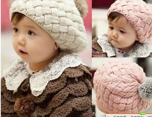 Cute Baby Toddler Warm Winter Braid Crochet Beret Beanie Cony Hair Cap Ear Hat