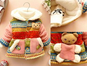 Lovely Baby Girls Clothes Cute 3D Bear Bohemia Winter Warm Jacket Gown Clothing