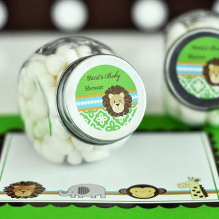 48 Jungle Safari Theme Baby Shower Personalized Candy Jars Favors Lot
