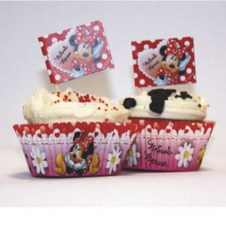 48 Piece Disney Minnie Mouse Polka Dots Paper Cup Cake Cases Flag Picks Set