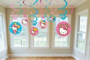 12 Hello Kitty Hanging Swirl Decorations Birthday Party Supplies
