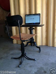 Antique Drafting Table Machine Age Vintage Industrial Toledo Chair Stool