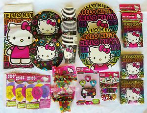 Hello Kitty Birthday Party Supplies Set Lot for Up to 16 Guest NIP