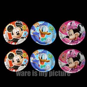 Disney Mickey Minnie Mouse Donald Duck Birthday Party x6 Paper Plates M363