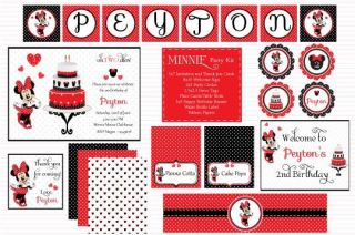 Minnie Mouse Digital Printable Birthday Baby Shower Party Kit
