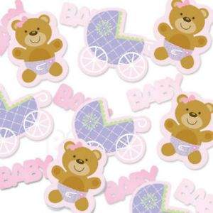 New Born Baby Shower Party Tableware Decoration Teddy Bear Pink Confetti