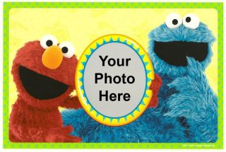Sesame Street Elmo Cookie Monster Photo Frame Edible Image Icing Cake Topper