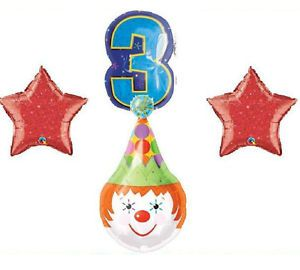 Clown Circus Party Balloons Birthday Supplies Third Blue 3rd Red Blue Toddler
