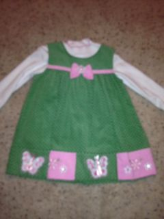 Baby Girl RARE Editions Jumper Green Dress Size 24 Months