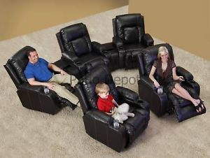 6 Power Home Theater Seats Chairs Recliners Leather 6