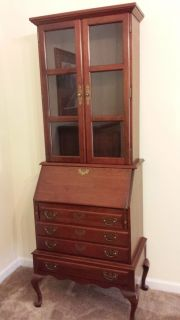 Vintage Cherry Secretary Writing Desk with Glass Doors Drawers