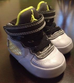 Infant Baby Boy 1c Nike Jordans 23 Grey Gray Neon Green Crib High Top Shoe