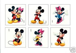 12 Mickey Minnie Mouse Temporary Tattoos Kids Party Goody Loot Bag Favor Supply