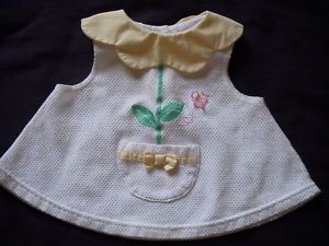 Reborn Baby Girl White Yellow Dress Bloomers 6 9M