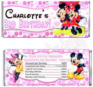 Mickey Minnie Mouse Birthday Personalized Candy Wrapper Party Favors 20 PC