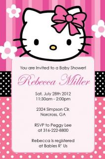 Cute Hello Kitty Birthday Party or Baby Shower Custom Invitation Print Your Own
