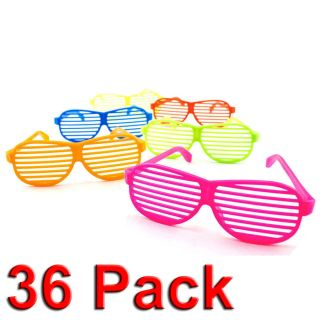 New 36pc Shutter Shades Hip Hop Glasses Multiple Colors Party Favors 80s Novelty