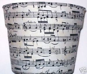 Sheet Music Themed Planter Flowerpot Party Gift Wrap Basket Supplies Container