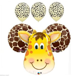 6 Balloons Giraffe Party Supplies Decorations Baby Shower Birthday Animal Print